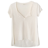 Fresh Laundry Cream Open Neck T-Shirt | Les Pommettes