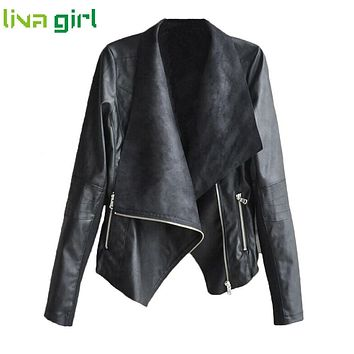 Autumn Winter Style Women Fashion PU Leather Jacket Coat Vintage Lady Casual Turn Down Motocycle Zipper Overcoat Outwear  Oct7