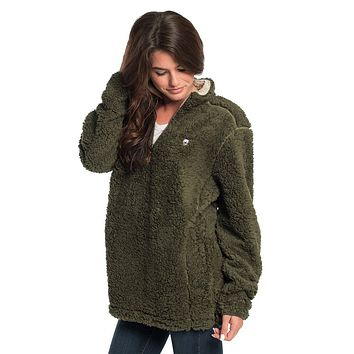 Sherpa Pullover with Pockets in Olive Night by The Southern Shirt Co. - FINAL SALE