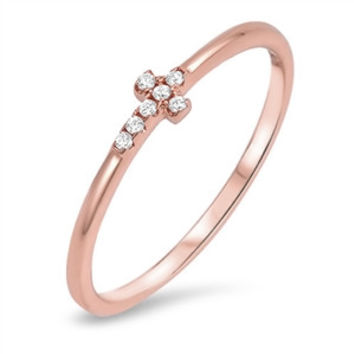 Sterling Silver CZ Simulated Diamond Rose Gold-Tone Sideway Cross 4MM Ring