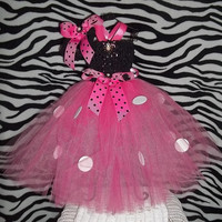 Tutu Dress-White/Pink/Black w/Polka Dots-Pageants,Costume,Party,Birthday,Dance-Photo-Cute-Adorable-Girl