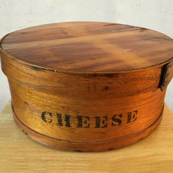 Vintage Pantry Cheese Box / Shaker Style Pine Pantry Box / 19th Century Cheese Box / Farmhouse Primitive Rustic Decor / General Store