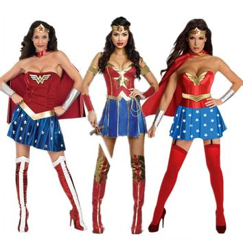 Hot Female Superhero Wonder Women Cosplay costumes Halloween Ladies Super Girl Diana Princess Dress fancy ball outfits for women