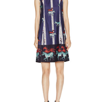 Cotton Printed Shift Dress with Pockets