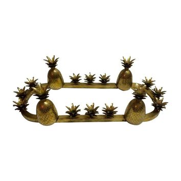 Pre-owned Brass Pineapple Candleholder Centerpiece
