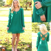 Crisscross Cutie Dress in Green