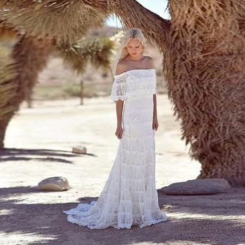 Simple Bohemian Lace Boho Wedding Dresses Off The Shoulder Cheap Beach Bridal Dresses 2016 Sweep Train Custom Made Wedding Gowns