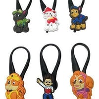 Paw Patrol Silicone Snap Lock Zipper Pulls 6 Pcs Set #1
