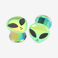 Steel Anodized Green Alien Single Flare Plug 2 Pack