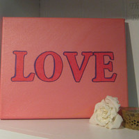 Pink LOVE Painting, Wedding Present, Baby Girl Present