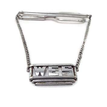 Swank Vintage Tie Bar with Chain Initials Letters WES Mens Formal Jewelry Cravat Holder Silver Tone Art Deco Hipster Mens