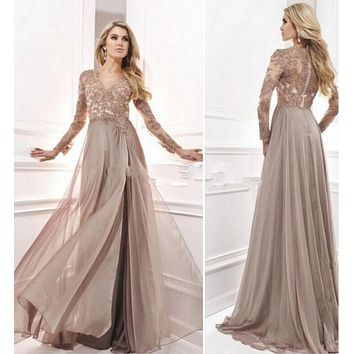 ANTI Vintage 2017 Evening Dress With Long Sleeves Arabic Muslim Formal Gowns For Wedding Party Celebrity Guest Dress Women