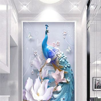 3D Custom Photo Wallpapers Embossed Peacock Corridor Murals Flowers Hallway Walls Papers Hotel Lobby for Living Room Home Decor