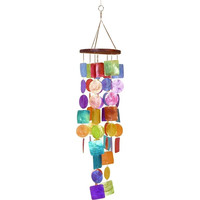 Artisan Crafted Capiz Shell Rainbow Wind Chime