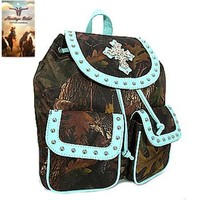Heritage West Camo Print Cross Backpack Purse (Blue)