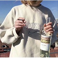 Nike: Women Men Fashion Retro Embroidering Casual Round Collar Cotton Sports Sweater Top I-MG-FSSH Beige