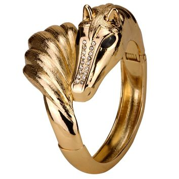 SHIPS FROM USA Horse bangle bracelet for women antique silver gold color matte animal jewelry FT56 mothers day gifts