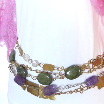 Green stone belly chain, hammered brass tribal belt, adjustable boho chic chain belt