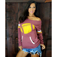 Baseball Print Pocket Long Sleeve One Shoulder Sweatshirt