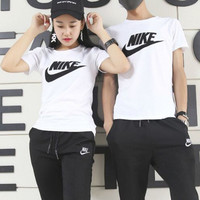 """""""NIKE"""" Fashion Casual Embroidery Stitching Letter Unisex Short Sleeve T-shirt Couple Shirt Top Tee"""