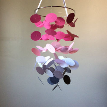 Pink, White & Gray Floating Dot Mobile // Nursery Mobile // Modern crib mobile, custom mobile