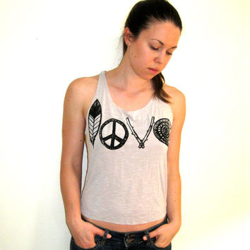 LOVE Print Tank, Feather Tank Top, Upcycled Tank, Festival Tank, Braided Straps Tank, Surfer Tank, Beach Tank, Peace Love Tank, Travel Tank