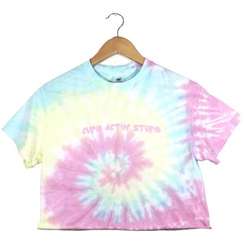 Cupid Actin' Stupid Pastel Tie-Dye Graphic Unisex Cropped Tee