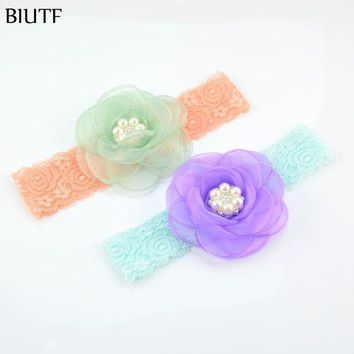 ESB78W 17pcs/lot Newborn  Headband Chiffon Lace Hairband with Snow Silk Flower and Rhinestone Button Hair Accessories FD211