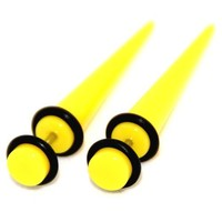 Fake Cheaters Illusion Tapers Expanders Stretchers Plugs Yellow, 16G 1.2mm, Look 2G 6mm 1 Pair