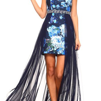 Teeze Me | Strapless Printed Jewel Waist Trim Tube Dress  | Navy