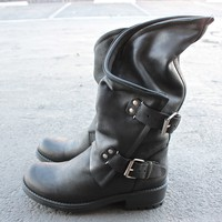 coolway - Alida leather motorcycle boots - black