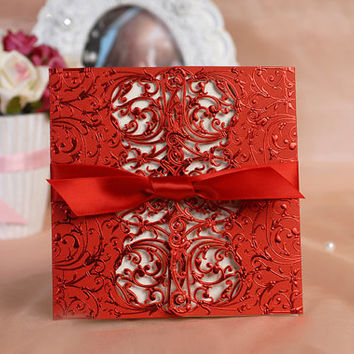 Free print 50pcs/lot lace laser cut red Wedding invitation card, customised invitation cards, wedding favors