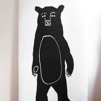 Woolf With Me™ Fitted Crib Sheet in White+Black Bear Bear, Woodland Nursery, Cot Sheet, Baby Boy, Baby Girl, Gender Neutral, Organic, Animal