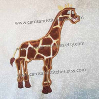 Giraffe Applique - Machine Embroidery Design - INSTANT DOWNLOAD - 4x4 and 5x7 - (7 formats plus SVG included)