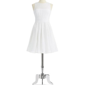 Eliza J Eyelet Fit and Flare Dress