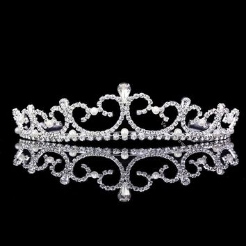 Handmade Bridal Rhinestones Crystal Pearl Prom Wedding Crown Tiara 81019