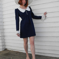 Vintage 70s Mini Dress Blue Eyelet Collar Cuffs Hippie by soulrust