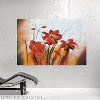 Red Flowers large painting floral wall art daisy - different sizes available