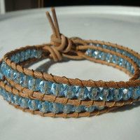 Aquamarine Glass Bead and Natural Leather Wrap Bracelet