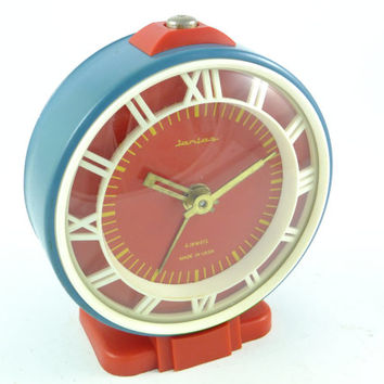 JANTAR - Vintage Mechanical Blue / Red Alarm Clock - from Russia / Soviet Union / USSR / Wind up / mechanical
