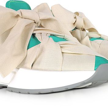 MM6 Maison Martin Margiela Green, Red and Ecru Nylon and Leather Bow Sneakers