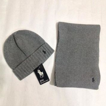 DCCKNQ2 Polo Women Men Winter Knit Hat Cap Scarf Set Two-Piece-2