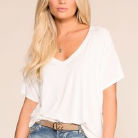 Sure Bet White V-Neck Tee