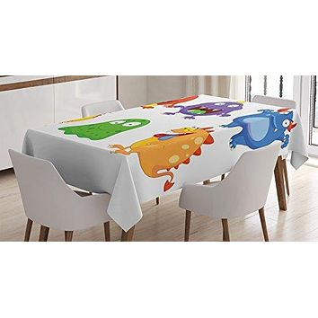 Ambesonne Funny Decor Tablecloth, Comic Cartoon Monsters with Smiley Faces Little Freaky Mascots Illustration Kids Humor Decor, Rectangular Table Cover for Dining Room Kitchen, 52x70 Inches, Multi