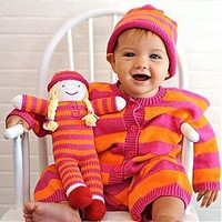 Knit Girl Romper with Matching Handmade Pal