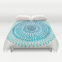 Radiate in Teal + Emerald Duvet Cover by Tangerine-Tane