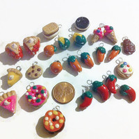 Assorted Food Charms - 25 pieces,  Polymer clay food, food charms, miniature food, jewelry making, handmade charms, kawaii, assorted charms