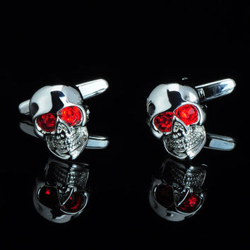 NVT Jewelry shirt cufflink for mens gift Brand cuff button Red Crystal cuff link High Quality Skull abotoaduras Free Shipping