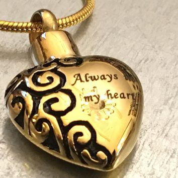 Cremation Necklace, Gold Plate Heart Urn, Urn Locket, Ashes Holder Necklace, Cremation Locket, Memory Locket, Cremation Jewelry
