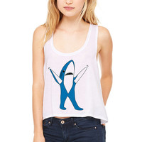 White Cropped Tank Top - Super Bowl Left Shark MVP Shirt